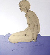 Setting Drawings Prints - Nude figure in blue Print by Greta Corens