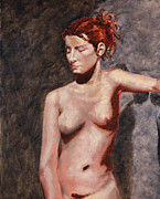 Gallery Sati Painting Metal Prints - Nude French Woman Metal Print by Shelley Irish
