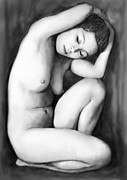 Nudes Drawings Prints - Nude Girl Drawing Art Sketch - 9 Print by Kim Wang