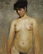 Brunette Painting Prints - Nude Girl Print by Lovis Corinth