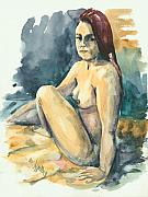 Traditional Art Painting Originals - Nude II by Elisabeta Hermann