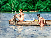 Guys Paintings - Nude Male Bathers on the Dock by Christopher Shellhammer