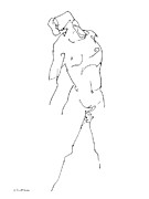 Athletic Drawings - Nude-Male-Drawing-11 by Gordon Punt