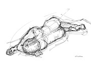 Athletic Drawings - Nude Male Sketches 4 by Gordon Punt