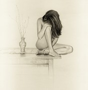 Alluring Drawings - Nude by Mark  Leavitt