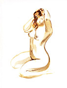 Watercolor Framed Prints - Nude Model Gesture I Framed Print by Irina Sztukowski