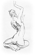 Figurative Drawing Framed Prints - Nude Model Gesture V Framed Print by Irina Sztukowski