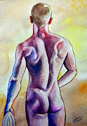 Masculine Painting Originals - Nude Naked Muscle Male Back by Christopher Shellhammer