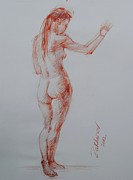 Figure Study Drawings Prints - Nude No.21 Print by Nika Zakharov