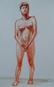 Figure Study Drawings Prints - Nude No.22 Print by Nika Zakharov