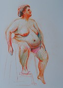 Figure Study Drawings Prints - Nude No.25 Print by Nika Zakharov