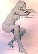 Setting Drawings Prints - Nude of a dreamy young woman Print by Greta Corens