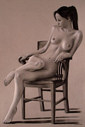 Monochrome Pastels - Nude of a girl sitting in a chair by Jose Miguel COLLADO