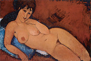 Brunette Painting Posters - Nude on a Blue Cushion Poster by Amedeo Modigliani