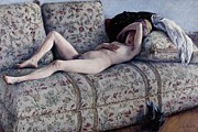 Couch Prints - Nude On A Couch Print by Gustave Caillebotte