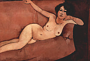 Amedeo Framed Prints - Nude on Sofa Framed Print by Amedeo Modigliani
