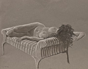 Monochrome Pastels - Nude on Striped Sofa by Don Perino