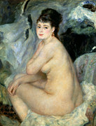 Smiling Painting Posters - Nude or Nude Seated on a Sofa 1876 Poster by Pierre Auguste Renoir