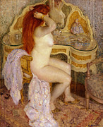 Sensuous Posters - Nude Seated At Her Dressing Table Poster by Carl Frieseke