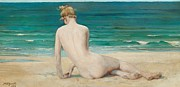 Bare Back Paintings - Nude seated on the shore by John Reinhard Weguelin