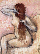 Three-quarter Length Pastels Posters - Nude Seated Woman Arranging her Hair Femme nu assise se coiffant Poster by Edgar Degas
