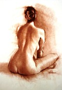 Nude Woman Charcoal Drawing Framed Prints - Nude sitting back Framed Print by Doyle Shaw