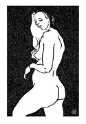 Female Models Body Framed Prints - Nude Sketch 1 Framed Print by Leonid Petrushin
