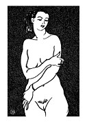 Nude Models Prints - Nude Sketch 2 Print by Leonid Petrushin