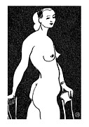 Nude Models Prints - Nude Sketch 4 Print by Leonid Petrushin