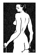 Contemporary Framed Prints - Nude Sketch 6 Framed Print by Leonid Petrushin