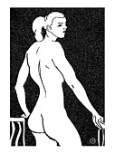 Nude Models Prints - Nude Sketch 7 Print by Leonid Petrushin
