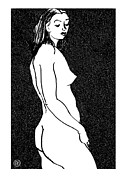 Woman Framed Prints - Nude Sketch 8 Framed Print by Leonid Petrushin