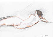 Fine Art  Of Women Paintings - Nude Sketch by Stan bert Singer