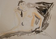 Watercolorist Painting Originals - Nude So Cool by Esther Newman-Cohen