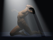 African-american Digital Art - Nude under spotlight by Mike Heywood