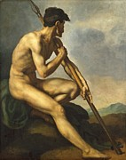 Male Athlete Framed Prints - Nude Warrior with a Spear Framed Print by Theodore Gericault