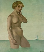 Frigate Metal Prints - Nude with a Frigate Metal Print by Felix Edouard Vallotton