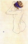 Schiele Drawings - Nude with Blue Headband by Pg Reproductions