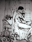 Studio Drawings - Nude with fruit by Anne Dalton