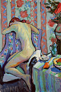 Chair Painting Framed Prints - Nude with Still Life  Framed Print by Hugo Grenville
