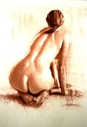 Feet Pastels Posters - Nude woman kneeling back Poster by Doyle Shaw