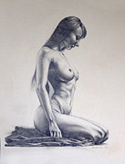 Naked Drawings Originals - Nude Woman Kneeling Drawn Figure Study by Brent Schreiber