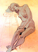 Studio Drawings Prints - Nude woman leaning on a barstool Print by Greta Corens