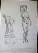 Moscow Drawings - Nude woman by Naroditskay Anna