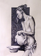 Pitcher Drawings Metal Prints - Nude Woman with Pitcher Drawn Figure Study Metal Print by Brent Schreiber