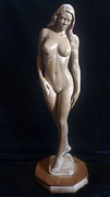 Nudes Sculpture Framed Prints - Nude Woman - Wood Sculpture Framed Print by Carlos Baez Barrueto