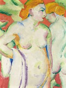 Figure Pose Paintings - Nudes in Cinnabar by Franz Marc