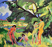 Nude Framed Prints - Nudes Playing under Tree Framed Print by Ernst Ludwig Kirchner