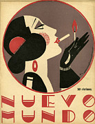 Women Drawings Prints - Nuevo Mundo 1923 1920s Spain Cc Print by The Advertising Archives