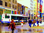 American Eagle Paintings - Number 15 Bus Peel And St Catherine Slushy Day Downtown Shoppers Moores American Eagle Winter Scene  by Carole Spandau